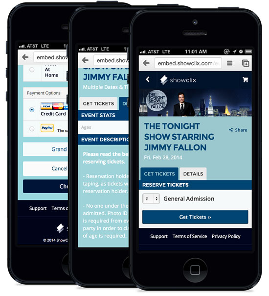 Mobile ticketing pages