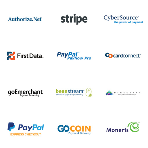 Authorize.net, Stripe, Cybersource, FirstData, PayPal Payflow Pro, CardConnect, goEmerchant, BeanStream, DirectPay, PayPal Express, GoCoin